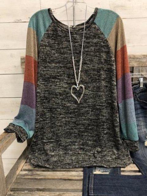 Multicolor Round Neck Long Sleeve Cotton-Blend Color-Block Shirts & Tops