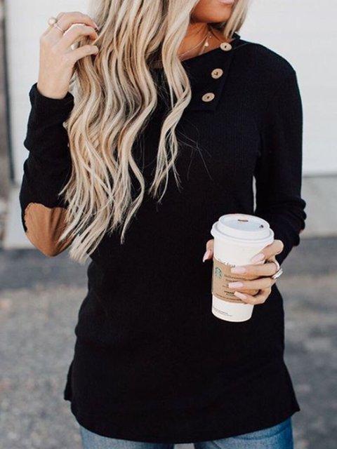 Black Casual Cotton-Blend Patchwork Shirts & Tops
