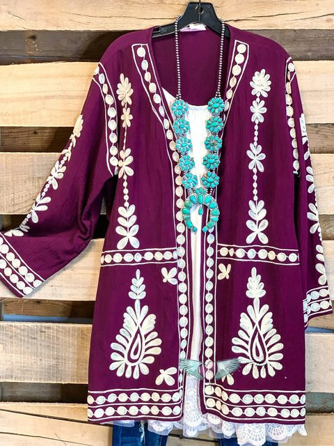 Ethnic Print Casual Long-sleeved Cardigan Coat