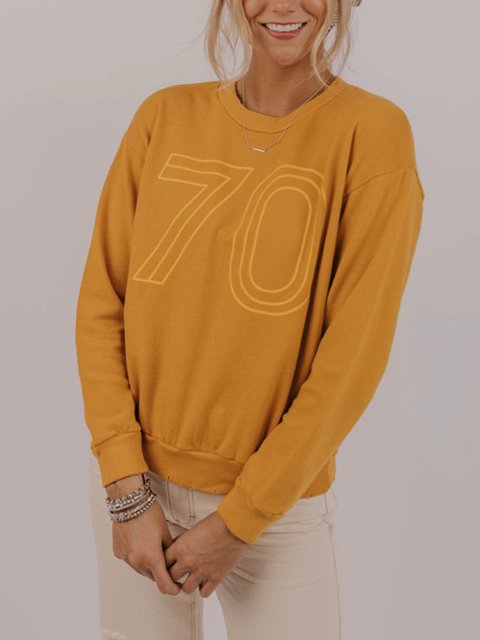Casual Crew Neck Cotton-Blend Letter Shirts & Tops
