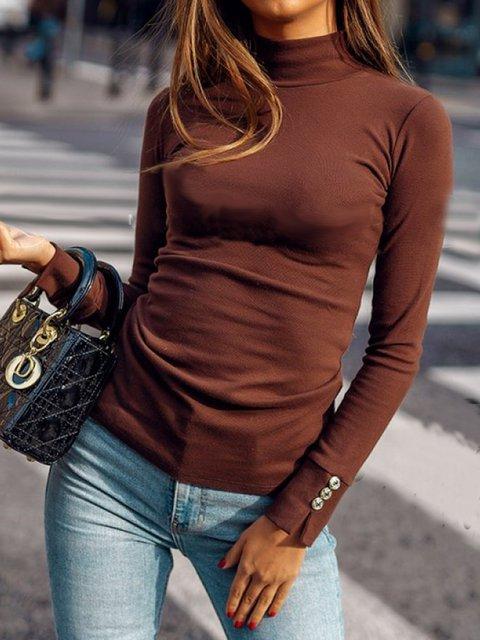 Deep Brown Casual Turtleneck Shirts & Tops