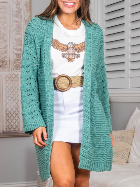 Openwork knitted cardigan coat