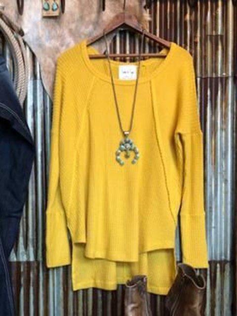 Yellow Crew Neck Long Sleeve Sweater