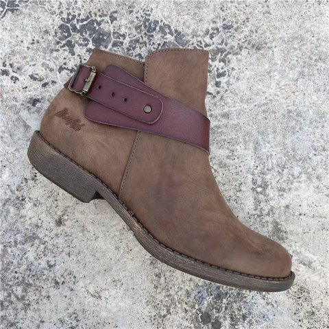 Brown Microfiber Leather Date Boots