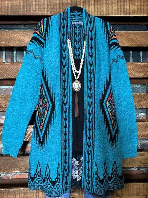 Ethnic Print  Loose Fitting Knit Cardigan Sweater