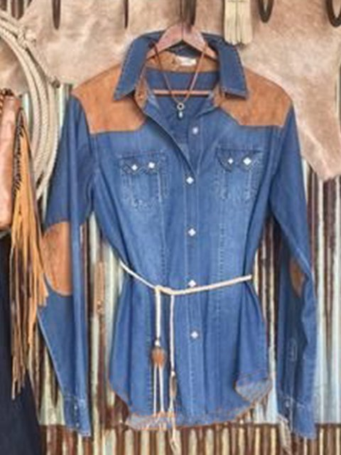 Blue Plain Denim Casual Shirts & Tops