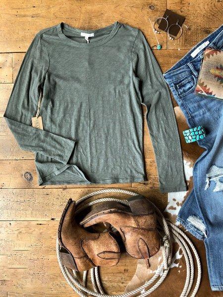 Blue Plain Cotton-Blend Crew Neck Long Sleeve Shirts & Tops