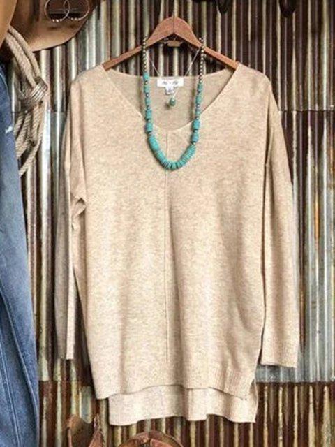 Apricot Crew Neck Acrylic Plain Long Sleeve Sweater