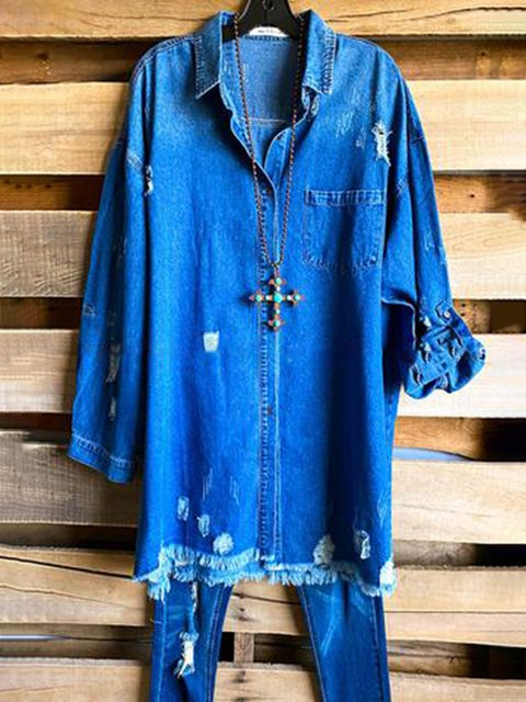 Blue Casual Plain Shirt Collar Denim Shirts & Tops