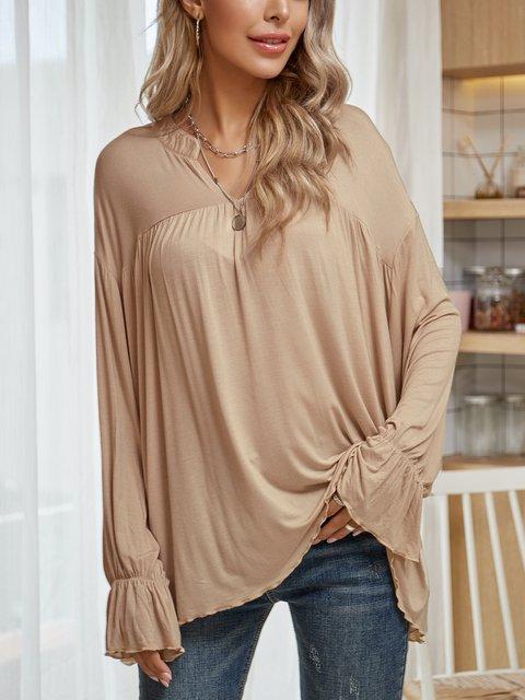 Apricot Long Sleeve V Neck Cotton-Blend Shirts & Tops