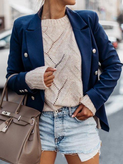 Long Sleeve Lapel Plain Outerwear