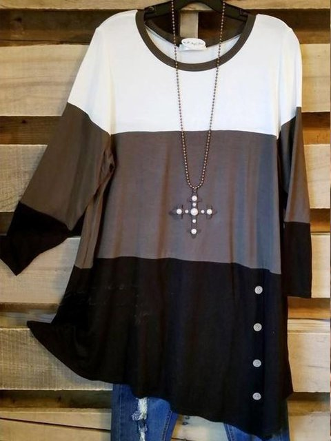 White-Black Casual Long Sleeve Solid Cotton-Blend Shirts & Tops