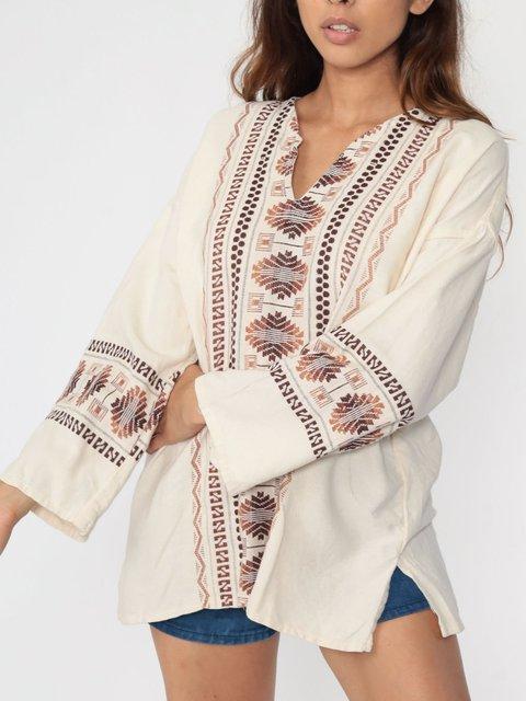 White hippie shirt print Aztec Mexican shirt