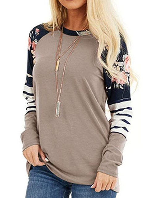 Floral-Print Casual Long Sleeve Stripes Shirts & Tops