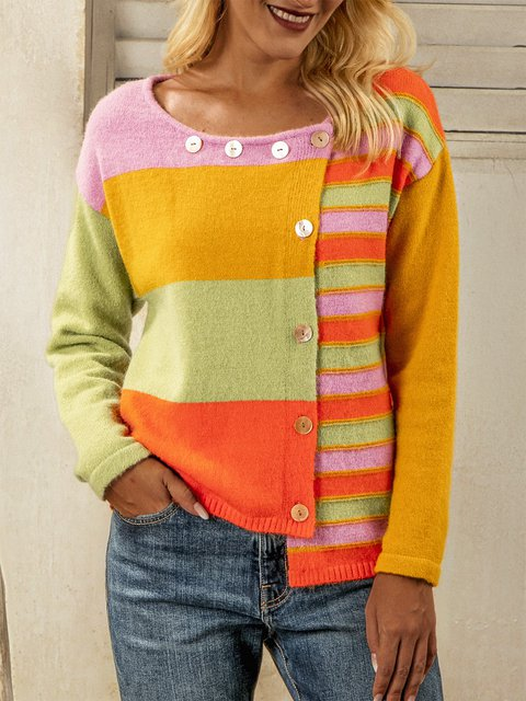 Yellow Shift Color-Block Acrylic Casual Sweater