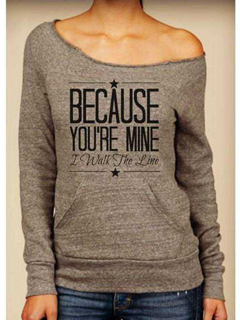 Casual style scoop neck long sleeve letter printed T-shirt