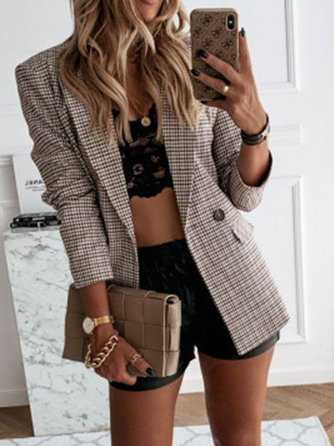 Brown Cotton-Blend Casual Jackets