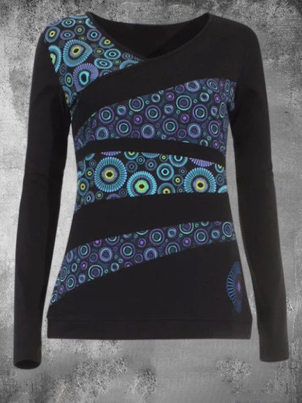 Long Sleeve Casual Printed Crew Neck Shirts & Tops