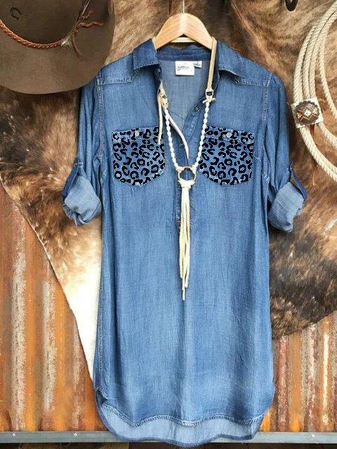 Blue Long Sleeve Plain Shirt Collar Denim Shirts & Tops