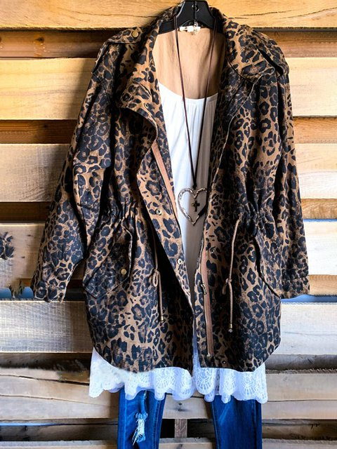 Leopard Long Sleeve Shawl Collar Cotton-Blend Outerwear
