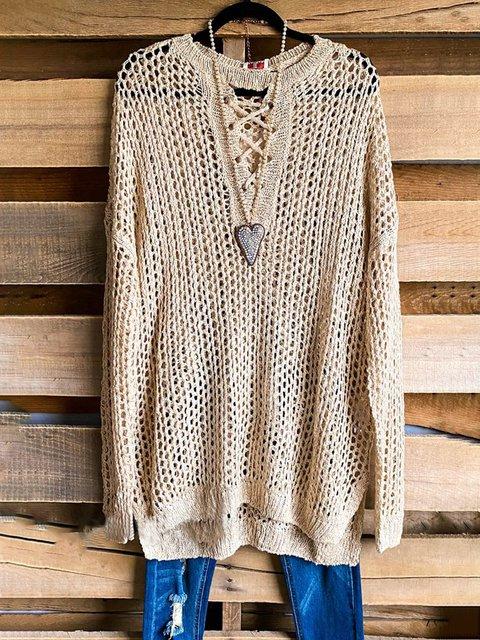 Apricot Crew Neck Casual Plain Sweater