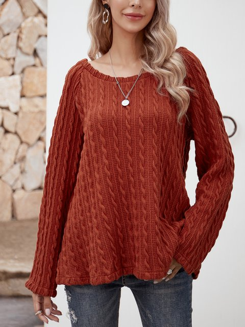Coral Orange Crew Neck Plain Long Sleeve Shirts & Tops