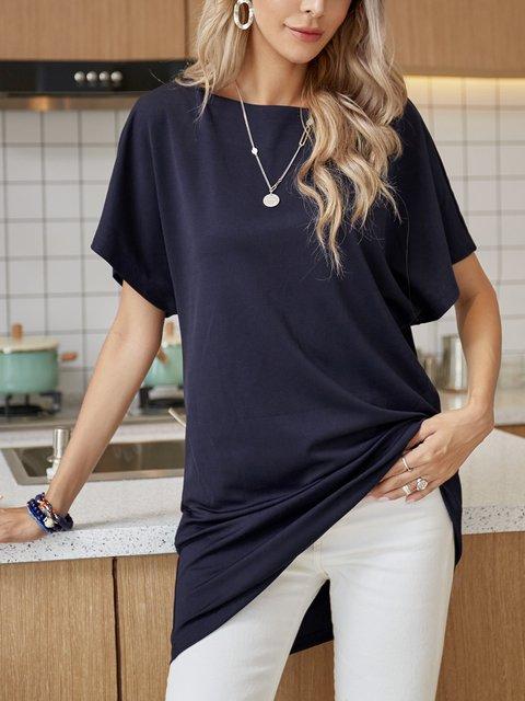Blue Short Sleeve Crew Neck Cotton-Blend Dresses