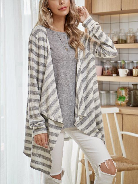 Gray Printed Casual Striped Outerwear