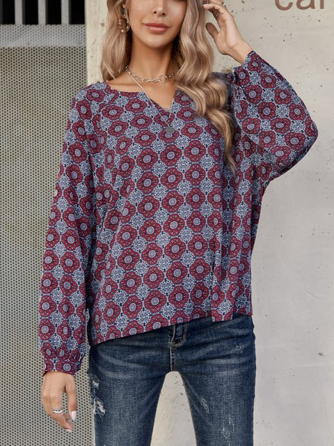 Blue Floral-Print Cotton-Blend Geometric Long Sleeve Shirts & Tops
