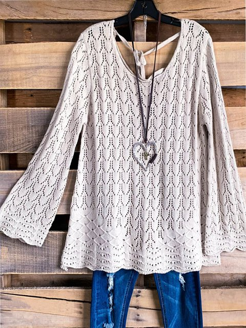 Knitted Long Sleeve Solid V-Neck Casual Sweater