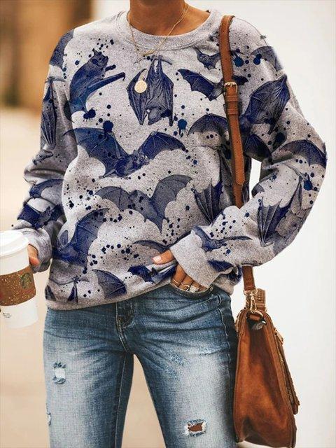 Bat Halloween Gray Casual Cotton-Blend Printed Crew Neck Sweatshirt