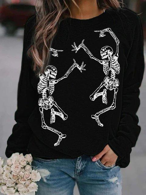 Skull Halloween Black Long Sleeve Cotton-Blend Sweatshirt