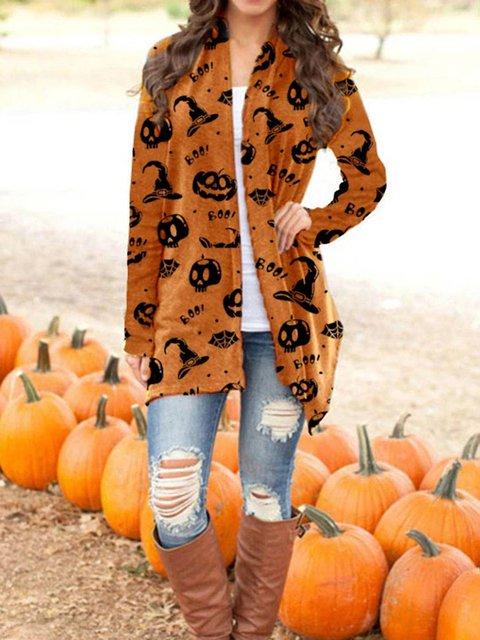 Halloween Print Casual Cardigan Coat