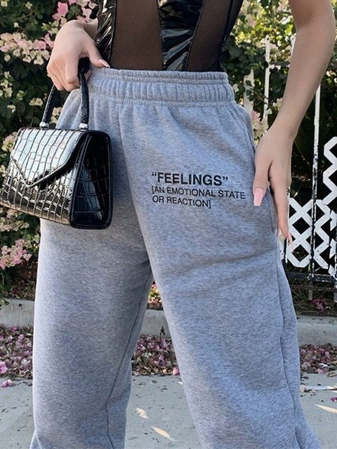 New solid color slim-fitting casual pants women's elastic waistband letter printing pant