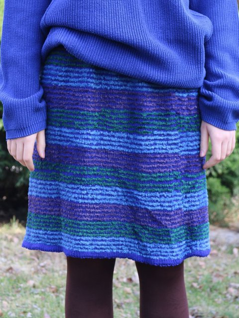 Straight Striped Fluffy Knitted Skirts