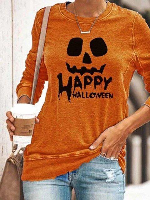 Pumpkin Halloween Orange Long Sleeve Cotton-Blend Crew Neck Shirts & Tops