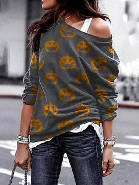Pumpkin Halloween Black Cotton-Blend Long Sleeve Off Shoulder Shirts & Tops
