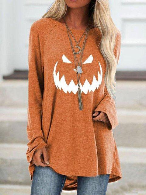 Pumpkin Halloween Orange Cotton-Blend Shirts & Tops