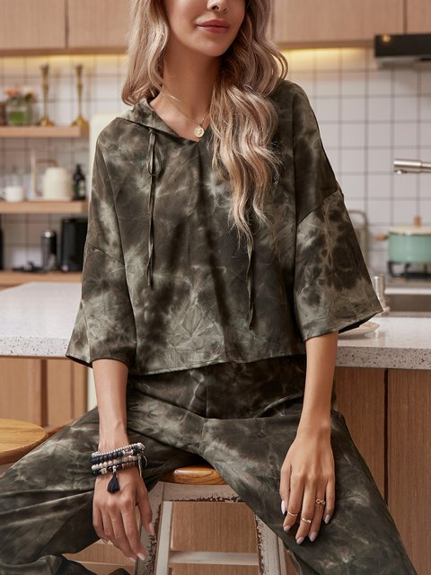 Army Green Holiday Paneled Hoodie Shirts & Tops