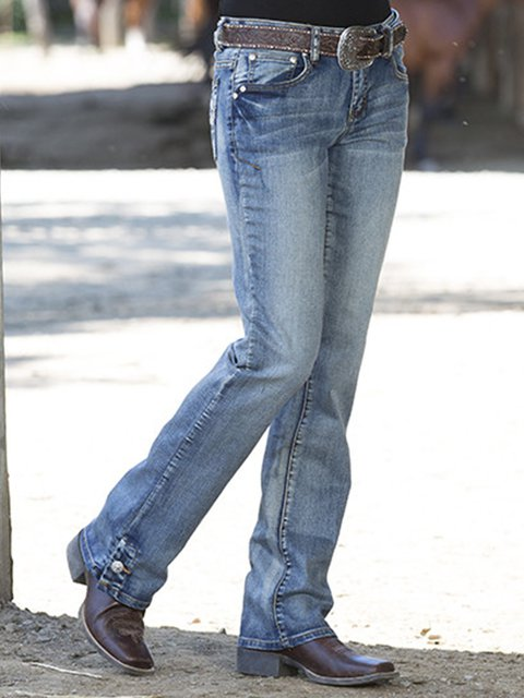 Light Blue Plain Casual Jeans