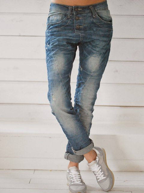Blue Casual Shift Pockets Denim Pants