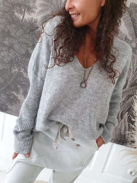 Gray Casual Loose V Neck  Solid Color  Long Sleeve Sweater