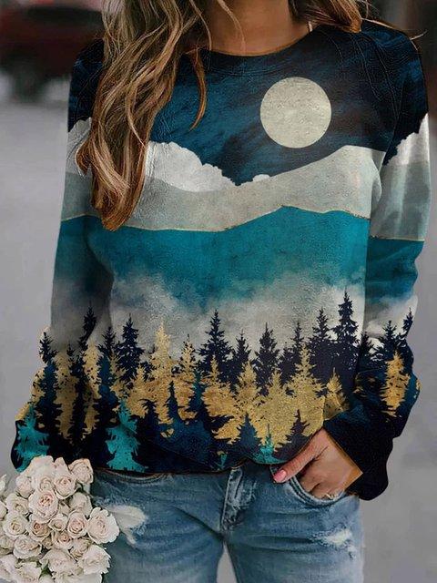 Blue Casual Printed Long Sleeve Sweatshirt