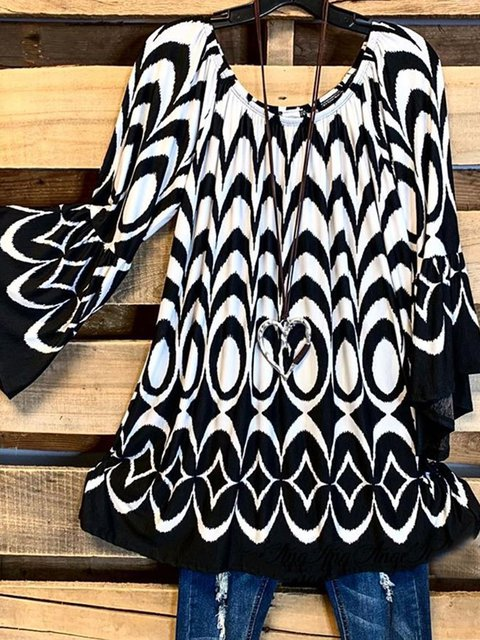Vintage Statement Geometric Printed Plus Size Long Sleeve Crew Neck Casual Tops