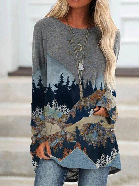 Women's mountain treetop print long sleeve T-shirt