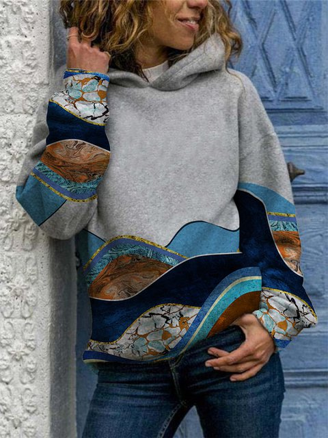 Ladies Mountain Print Hooded Sweatshirt