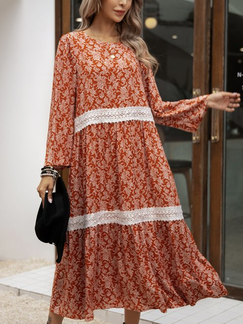 Red Cotton-Blend Long Sleeve V Neck Dresses