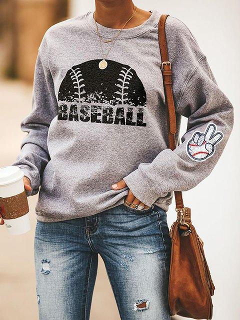 Baseball Print Casual Round Neck Sweatshirt