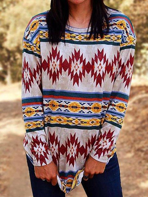 Vintage Tribal Print Crew Neck T-Shirts
