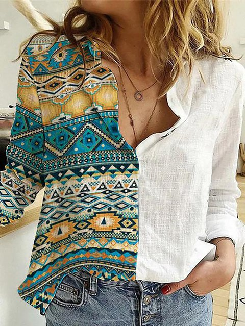 Ethnic Print Patchwork Casual Long Sleeve Shirt